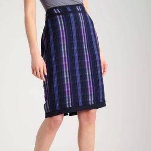 Banana republic blue striped pencil skirt